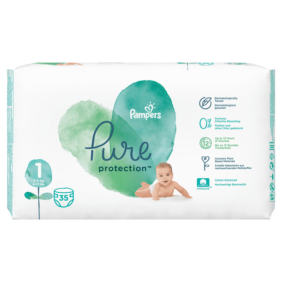 Pampers Pure Protection 1 (2-5 kg) 140 ks (4x35 ks)