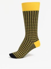 Happy Socks modro-žluté vysoké vzorované unisex ponožky Dressed Basket Weave f11c6cb544