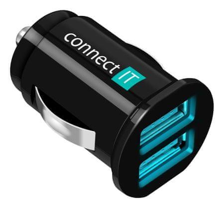 Connect IT CI-176 Autós töltő, 2x USB, 2,1 A + 1 A