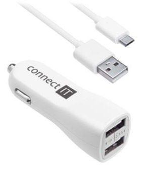 Connect IT InCarz PREMIUM autós töltő 2x USB 3,1 A + 1 A, fehér CI-708