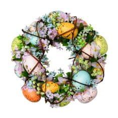 Seizis Věnec s květinami a vejci, barevný - 24cm