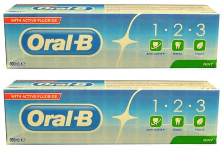 Oral-B Zubní pasta 2 x 100 ml 1-2-3 Fresh Mint