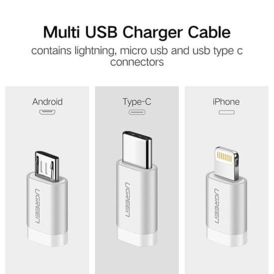 Ugreen USB 2.0 na Micro USB+Lightning+Type C (3 v 1) podatkovni kabel pleten, 1 m