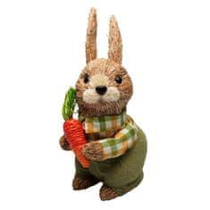 Seizis Zajíc přírodní s mrkví a zel. oblekem, 26 cm