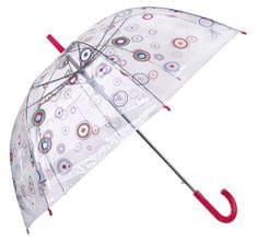 Blooming Brollies Dámský průhledný holový deštník Basics Clear Circles 12036