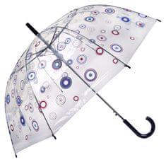 Blooming Brollies Dámský průhledný holový deštník Basics Clear Circles 12036 Blue