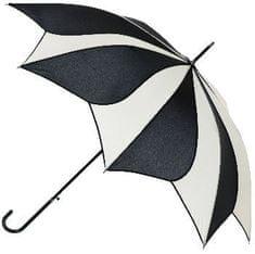 Blooming Brollies Dámský holový vystřelovací deštník Black and Cream Swirl Umbrella EDSSWB/C