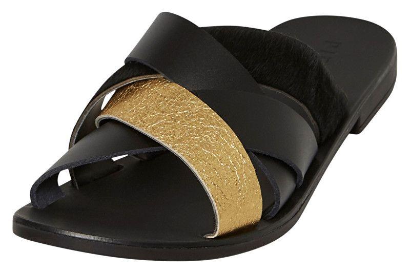 5ce52ea44c04 Pieces Dámské pantofle Cari Leather Sandal Black (Velikost 41)
