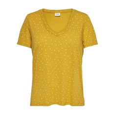ONLY Dámske tričko Cloud S/S Aop V-Neck Top Jrs Noos Golden Spice