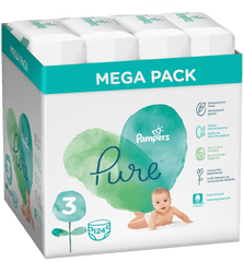 Pampers Pure Protection S3, 124 szt (4x31 szt), 6-10 kg