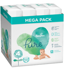 Pampers Pure Protection S4, 112 pcs (4x28 pcs), 9-14 kg