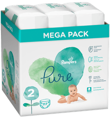 Pampers Pure Protection S2, 117 szt (3x39 szt), 4-8 kg
