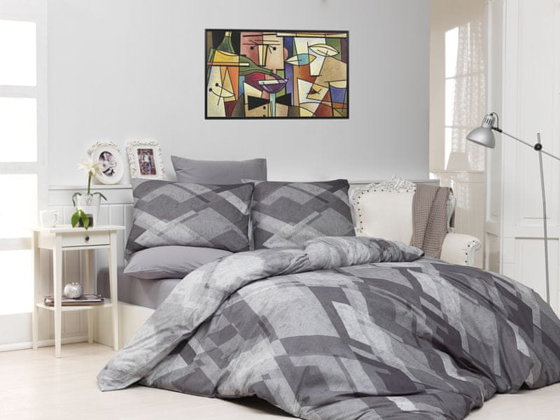 BedTex Povlečení Mosaic Šedé 200x220 / 2x 70x90 cm