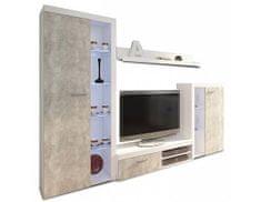 TEMPO KONDELA Obývací stěna, beton světlý / bílá, ROCHESTER