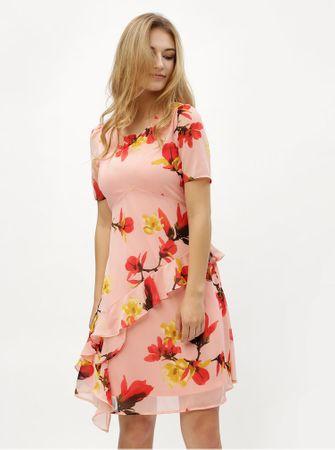Vero Moda růžové květované šaty s volánem Katy XL
