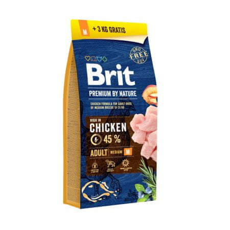 Brit Premium by Nature Adult M 15+3 kg Zdarma