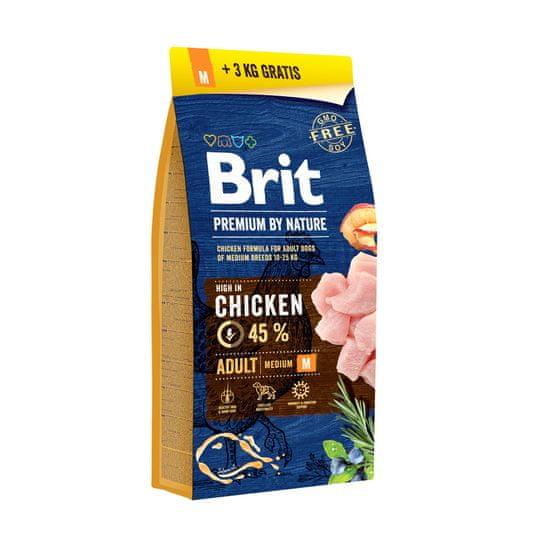 Brit Premium By Nature Adult M briketi, s piščancem, 15 + 3 kg