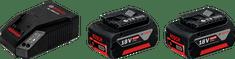 BOSCH Professional Komplet: 2x litij-ionska baterija 18V 4,0Ah + polnilnik 18V-40 (1600A019S0)