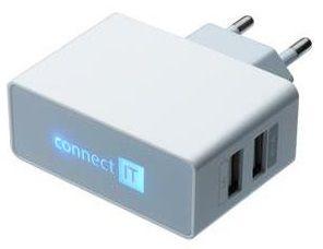 Connect IT Töltőadapter POWER CHARGER 2× USB port 2,1 A/1 A, fehér CI-151