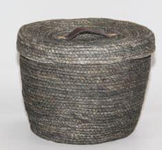 Kaemingk Okrągły kosz z pokrywką, ok. 32x27cm, szary