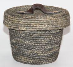 Kaemingk okrogla košara s pokrovom, cca 22x17cm, siva