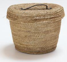 Kaemingk Okrągły kosz z pokrywką, w przybliżeniu 27x22cm naturalny