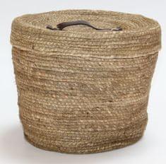 Kaemingk Kulatý koš s víkem, cca 32x27cm, přírodní
