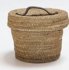 Kaemingk Okrągły kosz z pokrywką, naturalny ok. 22x17cm