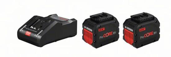 BOSCH Professional komplet: 2 x litij-ionska baterija 18V + polnilnik (1600A016GY)
