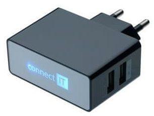 Connect IT Nabíjecí adaptér POWER CHARGER 2× USB port 2,1 A/1 A, černý CI-153