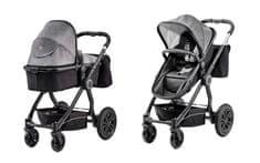 KinderKraft kombinirani otroški voziček VEO 2v1, black/grey, črno siv