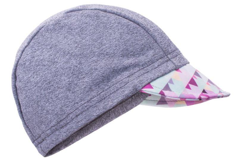 Unuo Dívčí čepice s kšiltem Mini trojúhelníčky UV 50+ 42-44 šedá