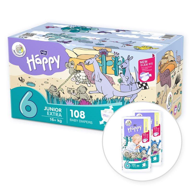 Bella Happy 6 Junior Extra Box (16+ kg) 108 ks