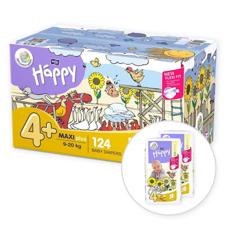 Bella Happy 4+ Maxi Plus Box (9-20 kg) 124 ks