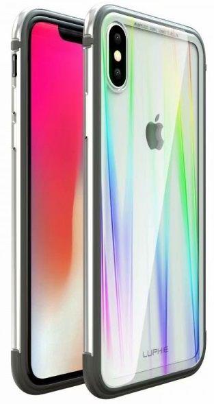Luphie CASE Aurora Condom Aluminium Frame + TPU Case Silver/Crystal pro iPhone XS Max 2442690