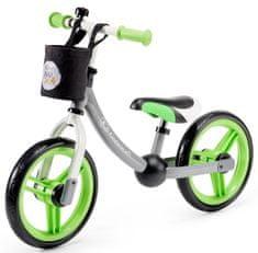KinderKraft 2way pedál nélküli gyerek kerékpár tartozékokkal, szürke/zöld