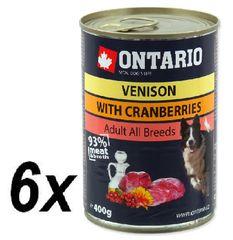 Ontario Kutyakonzerv, vadhús, vörösáfonya és sáfrányos szekliceolaj, 6 x 400 g