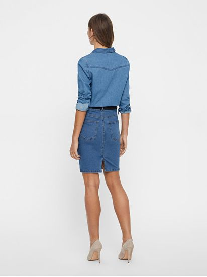Vero Moda Spódnica Hot Dziewięć Hw DNM Pencil Skirt Mix Noos rednio Blue Denim