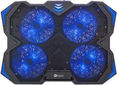 """C-Tech Chladící podložka C-TECH Zefyros (GCP-01B), casual gaming, 17,3"""", modré podsvícení, regulace otáček"""