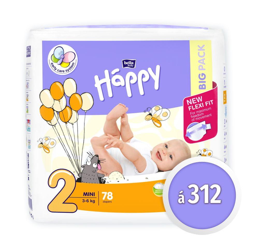 Bella Happy 2 Mini Big Pack (3-6 kg) 312 ks (4x78 ks)