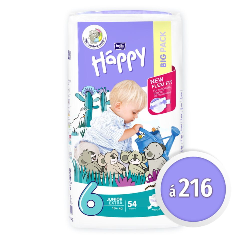 Bella Happy Junior 6 EXTRA Big Pack (16+ kg) 216 ks (4x54 ks)