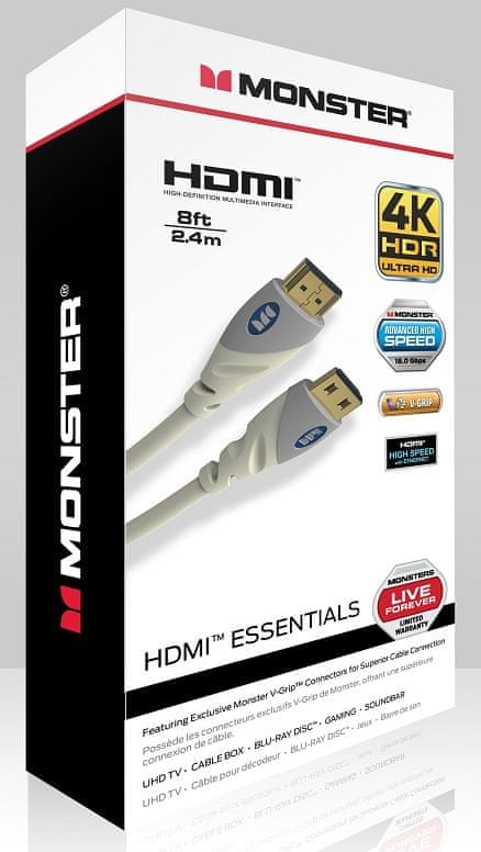 Monster Essentials Ultra HD 4K HDMI Cable, 2,4 m