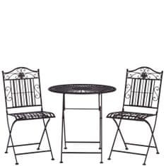 Butlers TERRACE HILL Balkonový set 2 ks židle a 1 ks stůl - tm. hnědá
