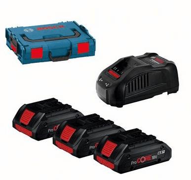 BOSCH Professional komplet 3x ProCORE18V 4,0Ah aku baterija + polnilnik + kovček (0615990L1R)