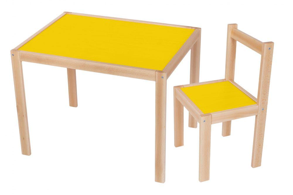 Wood Partner Dětský set stůl + židle ROBI lak/žlutá