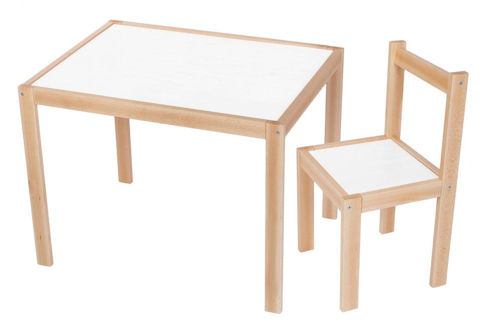 Wood Partner Dětský set stůl + židle ROBI lak/bílá