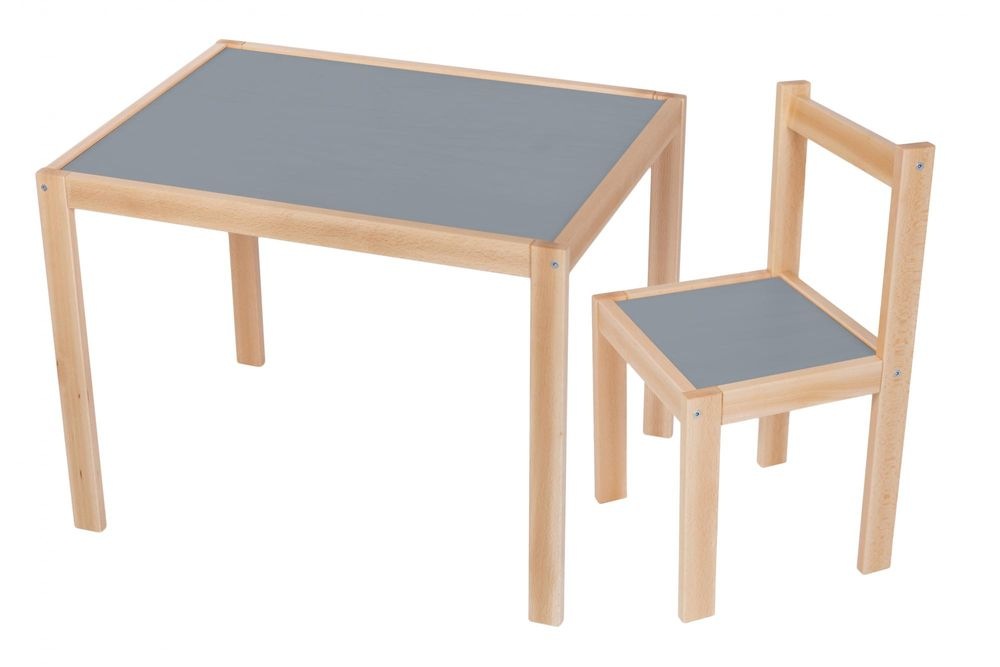 Wood Partner Dětský set stůl + židle ROBI lak/šedá