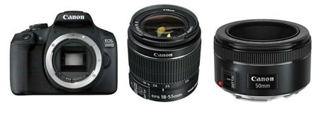 Canon digitalni fotoaparat EOS 2000D + EF-S 18-55 IS + EF 50 f/1,8