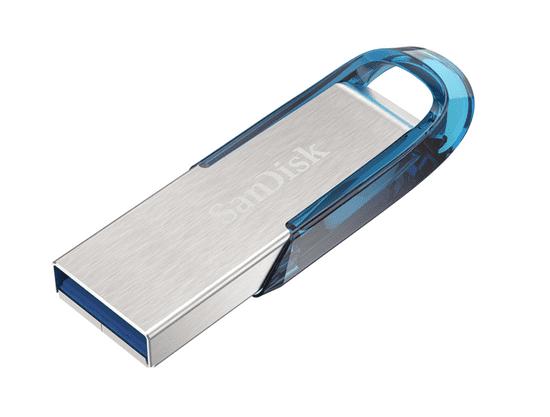 SanDisk USB ključ Ultra Flair, 64 GB, USB 3.0., moder