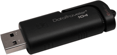 Kingston USB ključ DT104, 64GB, 2.0, črn, drsni priključek